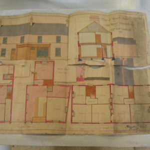 An architectural drawing before conservation