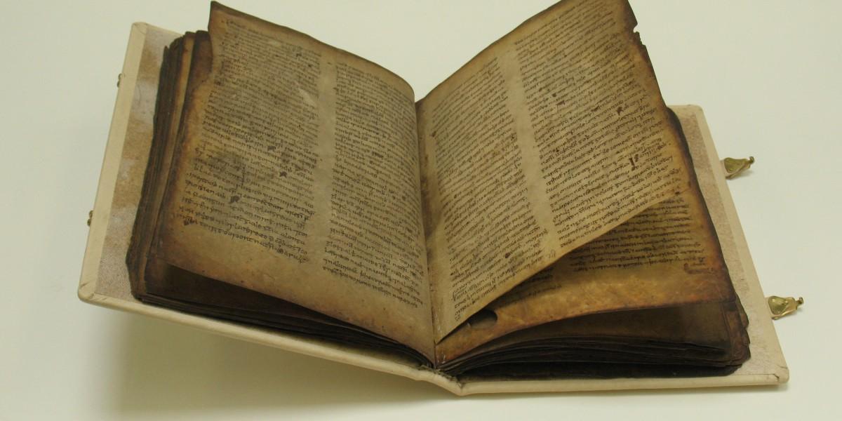 Conserved 14th century manuscript
