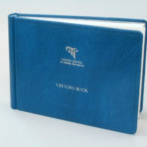 Visitors Book in blue Nigerian goatskin with palladium silver print