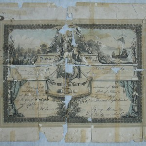 A family tree document falling apart and patched up with sellotape repairs