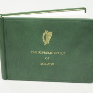 Visitors book in green Nigerian goat skin with gold print