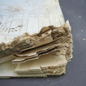 Mould damaged Poor Law Minute Book