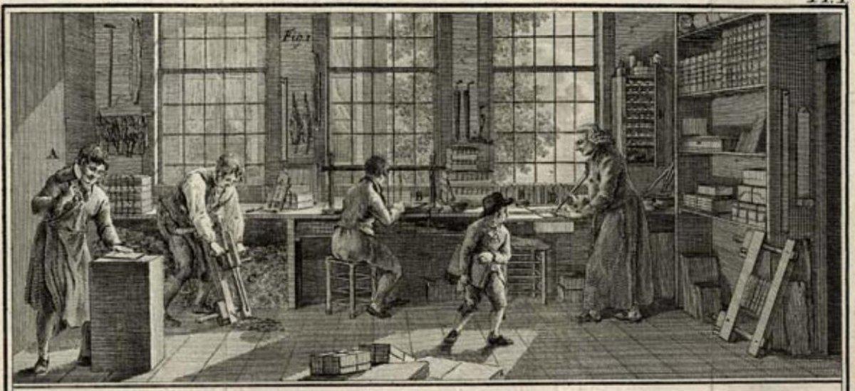 A typical turn of the 19th century bookbindery. From Hendrik de Haas, De Boekbinder of volledige beschrijving van al het gene wat tot deze konst betrekking heeft (1806)
