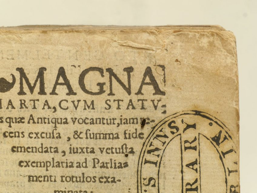 Conservation rebinding of the first edition of the expanded Magna Carta 1556