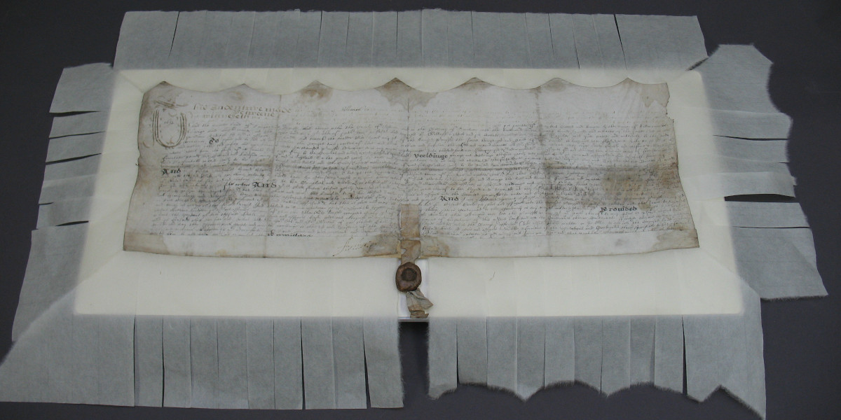 1620 charter with Japanese paper strips attached for mounting